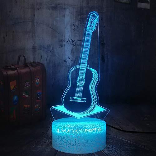 Luz de noche creativa para violonchelo, luz LED, base de grietas, multicolor, luz de visión 3D, acrílico, multicolor, instrumento musical, luz nocturna