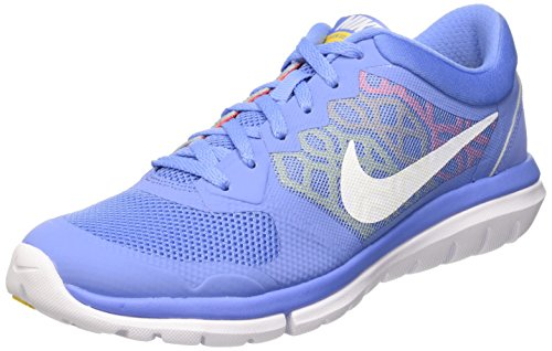 Nike Wmns Flex 2015 Rn, Zapatillas de Running Mujer, Azul (Chlk Bl / White Hypr Orng Vrsty), 36.5 EU