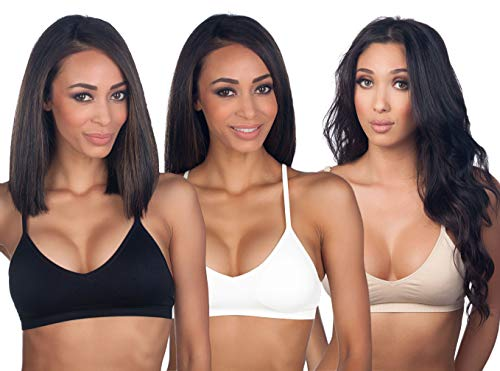 Women's 3PK Seamless Padded Bralette with Adjustable Straps(Black White&Nude)