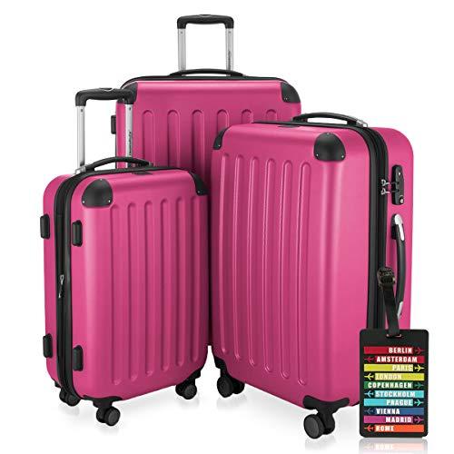 Hauptstadtkoffer - Spree - 3er-Koffer-Set Trolley-Set Rollkoffer Reisekoffer-Set Erweiterbar, TSA, 4 Rollen, (S, M & L), Pink inkl. Design...