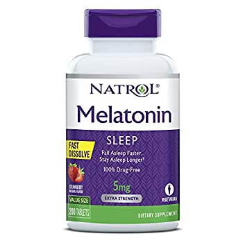 Natrol Melatonin Fast Dissolve Tablets Helps You Fall Asleep Faster Stay Asleep Longer Easy to Take Dissolve in Mouth Strengthen Immune System Maximum Strength Strawberry Flavor 5mg 200 Count