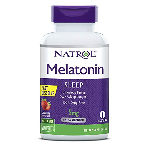 Natrol Melatonin Fast Dissolve Tablets, Helps You Fall Asleep Faster, Stay Asleep Longer, Easy to Take, Dissolve in Mouth, Strengthen Immune System, Maximum Strength, Strawberry Flavor, 5mg, 200 Count