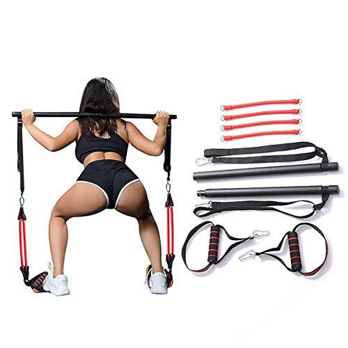 Tragbares Pilates Bar Kit Mit Widerstandsband,Bodybuilding Yoga Übung Pilates Stick Mit Fußschlaufe Für Ganzkörpertraining, Yoga, Fitness, Stretch, Sculpt,Schwarz,A*4 Pieces