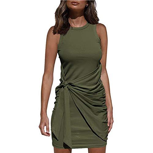 Vestido Casual Verano para Mujer Vestido Camiseta Sin Mangas Casuales Suelto Vestido Color Sólido hasta Rodillas para Diario Playa Vacaciones (Verde Militar, XXL)