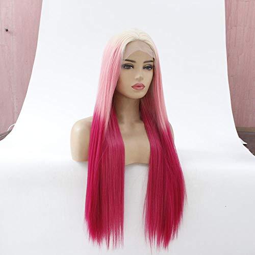 WJGSS Sexy Perruques de mode complet perruque longue ligne droite rose dégradé rose perruque front lace perruques,Naturel Cheveux synthétiques côté su