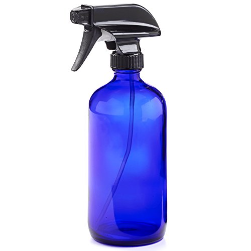 16oz Empty Cobalt Blue Glass Spray Bottles w/Labels and Caps- Mist & Stream Sprayer - BPA Free - Boston Round Heavy Duty Bottle - For Essential Oils, Cleaning, Kitchen, Hair, Perfumes (1 Pack)