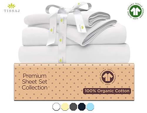 500-Thread-Count Organic Cotton Bed Sheets-Set - 500TC Twin XL Size Ultra White - 3 Piece Bedding - 100% GOTS Certified Extra Long Staple, Soft Sateen Weave - Fits 14' Deep Pocket Mattress