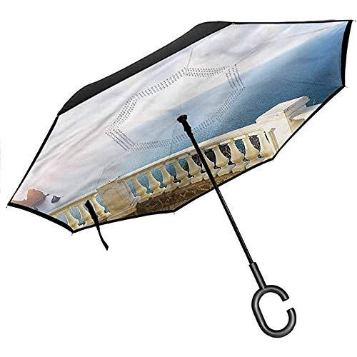 ETGeed Sombrillas inversas - Protección contra la Lluvia Sombrillas inversas para automóviles, Antiguas - Balaustrada de balcón de Piedra