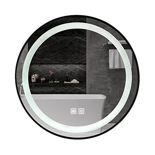 WZ 60CM Redondo Espejo Tocador Baño con Luces LED Espejo Maquillaje Montado En La Pared Marco Aluminio Negro Anti Niebla Botón Táctil Regulable (Color : 2 Colors Light)