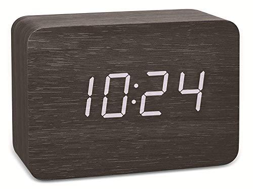 TFA Dostmann 60.2549 Design draadloze wekker in hout-look Clocco Wit/zwart met batterijen
