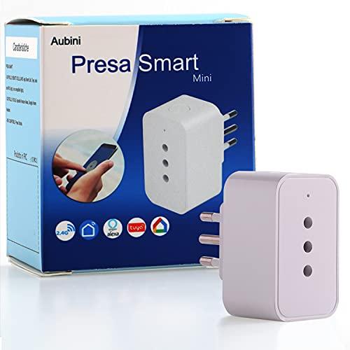 Presa smart Aubini Presa alexa Compatibile con Accessori Alexa, Google Home, Smart life, Presa wifi da 10A Comando a distanza, FunzioneTimer, Presa intelligente italiana per Casa Domotica Alexa
