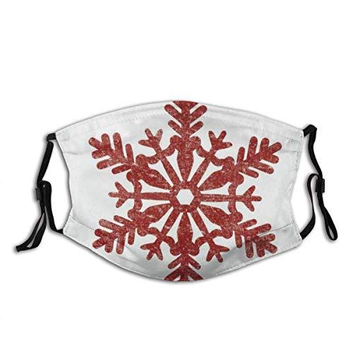 Classics Red Snowflake Weihnachtsbauernhaus oder Boho Style Holiday Red On Off-White Sturmhaube Wiederverwendbarer Mundschutz