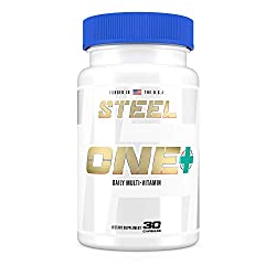 Steel Supplements ONE+ | Once Daily Multivitamin and Mineral Supplement for Immunity and Vitality | with Vitamins A B C D E, Biotin, Spectra, Zinc, Magnesium | 30 Day Supply