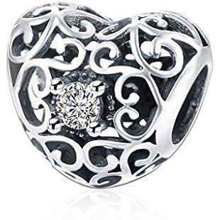 HMILYDYK White Crystal Heart Cubic Zirconia Charm Beads 925 Sterling Silver fit Pandora European Bracelets