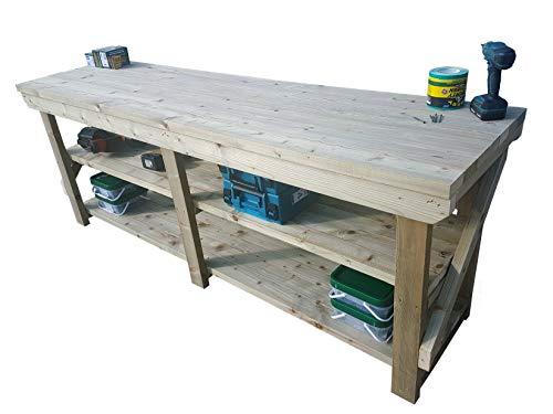Workbench With Double Shelf Indoor/Outdoor - Pressure Treated - Heavy Duty -...