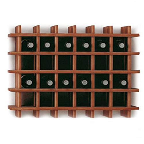 Modulares Weinregal System PRIMAVINO, für 30 Fl., Holz Kiefer dunkelbraun, stapelbar / erweiterbar - H 54 x B 75 x T 22 cm