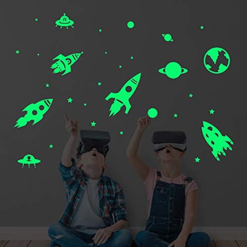decalmile Pegatinas de Pared Fluorescencia Espacio Planetas Cohetes Vinilos Decorativos Luminous Estrellas Adhesivos Pared Habitación Infantiles Niños Bebés Dormitorio
