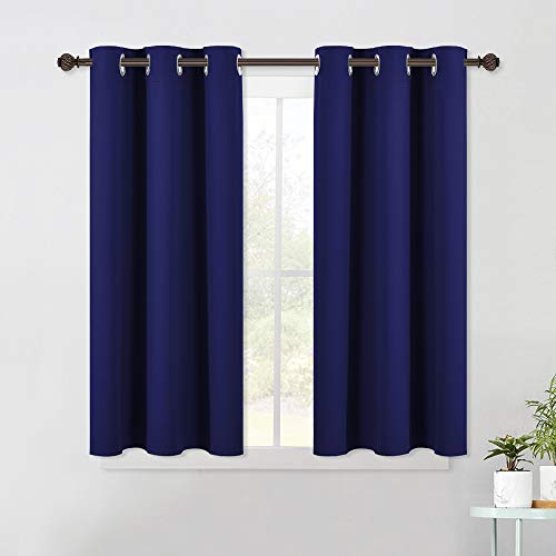 NICETOWN Navy Blue Blackout Draperies Curtains, All Season Thermal Insulated Solid Grommet Top Blackout Curtains / Drapes for Kid's Room (1 Pair, 42 x 45 Inch in Navy Blue)