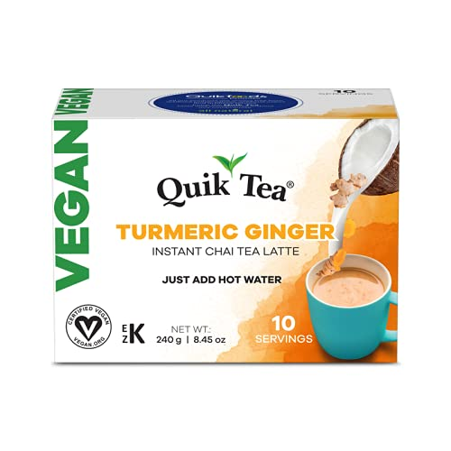 QuikTea Vegan Turmeric Ginger Chai Tea Latte - 10 Count Single Box - All Natural Preservative Free Vegan Instant Chai from Assam