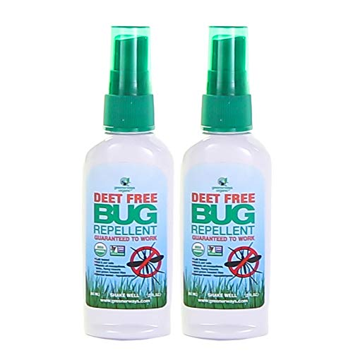 Greenerways Organic Mosquito Insect Repellent Travel Size, Premium, USDA Organic, DEET-Free, Natural, Mosquito-Repellant, Bug Spray, Pest Control (2 Pack - 2-Oz Bug Spray)