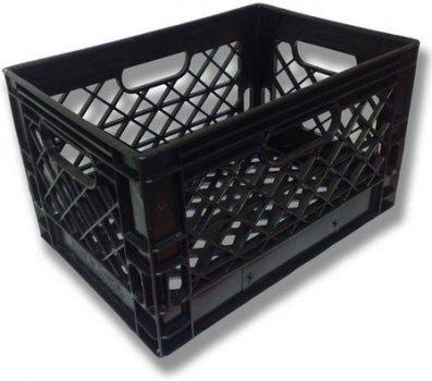 Authentic 19x13x11 6 Gallon 24 Quart Rectangular Dairy Milk Crate (BLACK)