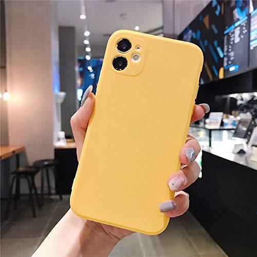 AAA&LIU Estuche Cuadrado de Color Caramelo para iPhone 7 8 6 6s Plus Funda de TPU Suave y Simple para iPhone 11 Pro MAX X XS XR XS MAX, Amarillo, para iPhone X