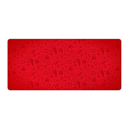 Alfombrilla para ratón de escritorio y portátil, 1 unidad, 600 x 400 x 3 mm, color rojo