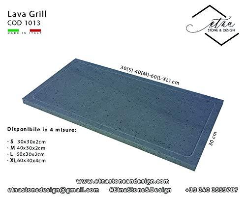 Etna Stone & Design Lava Grillpfanne Lavastein Ethno Lavastein für Backofen und Grillen von Fleisch, Fisch, Gemüse und Pizza L grau