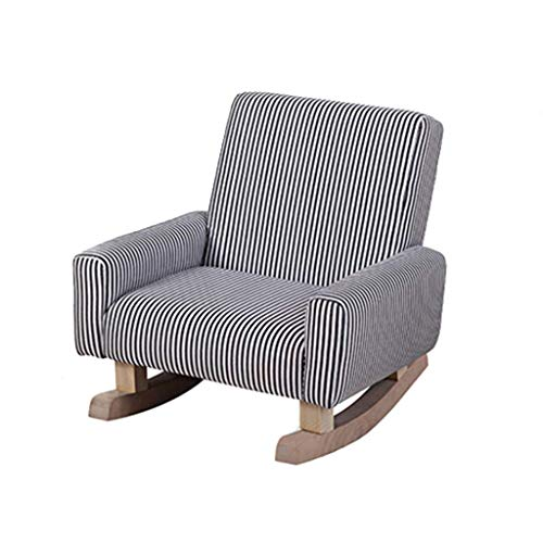 ZBHW Kid's Rocking Chair,Wooden Rocking Legs Black And White Striped Fabric Undetachable