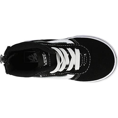 Vans Ward Hi Zip, Scarpe da Ginnastica Basse Unisex-Bimbi Nero ((Suede Canvas) Black/White Car) 18 EU