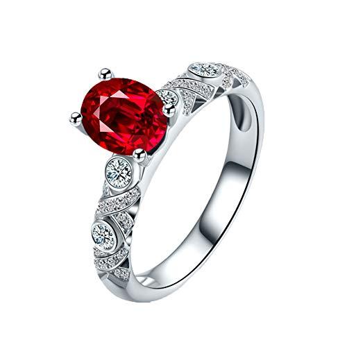 YCGEMS Ring van 18-karaats witgoud met echte diamanten en echte robijn, geboortesteen juli bruiloft