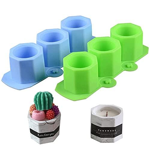 Swetup 2 Pezzi Vaso di Fiori in Silicone, Stampo portacandele in Cemento Silicone, Stampo in Silicone per Vaso di Fiori, Stampo Resina per Vaso di Fiori, Stampi per vasi da Fiori,portacandele