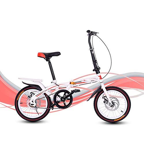 HHORD Bicicleta Plegable, Marco De Aluminio Ligero De Bicicleta Plegable, con Guardabarros Delantero Y Trasero,Rojo