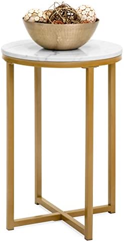 Best Best Choice Products 16in Modern Living Room Round Side End Coffee Table Nightstand w/Faux Marble To