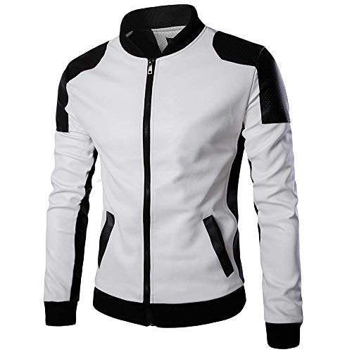 Men's Jacket, Autumn Winter Patchwork Stand Casual Leather Outwear Slim Coat Clothing