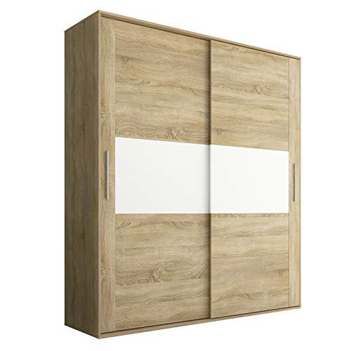Armario 2 Puertas Correderas para Dormitorio y Habitación, Modelo Priego Acabado en Color Cambria y Blanco, Medidas: 180 cm (Largo) x 207,6 cm (Alto) x 55 cm (Fondo)