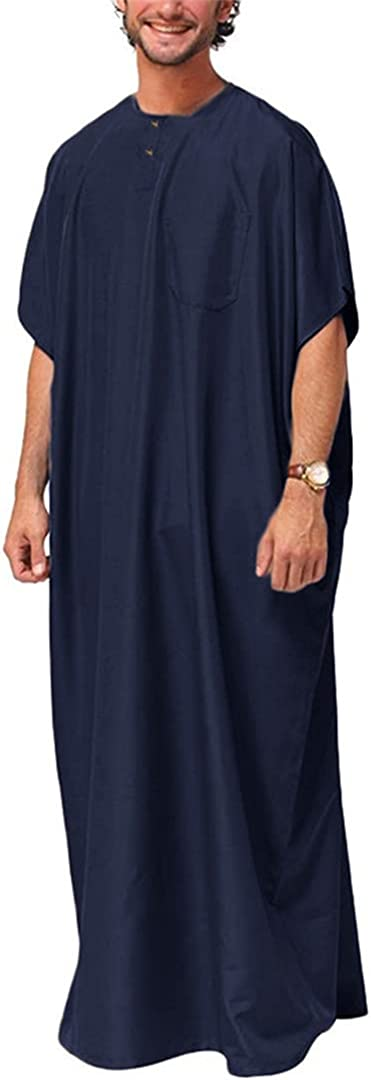 Men Islamic Arabic Kaftan Solid Short Sleeve Loose Retro Robes