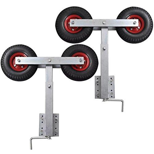 mewmewcat Doppelrad-Kurbelstütze Stahlrahmen Sliphilfe Bootstrailer Höhe von 59-84 cm 1 Paar für Bootsanhänger