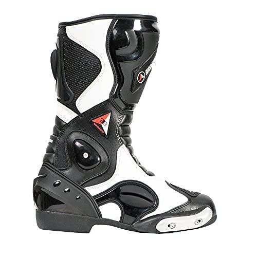 Bohmberg - Botas de moto, botas de piel deportivas, impermeables, de cuero estable protectores rígidos integrados - 45