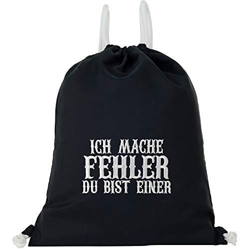 Bolsa de deporte impermeable negra con texto en alemán 'Ich Mache Fehler - Du BIST Einer Gymsack hombre Gym Bag Hipster Bag Mochila para hombre/mujer Sportbeutel muchacha Statement
