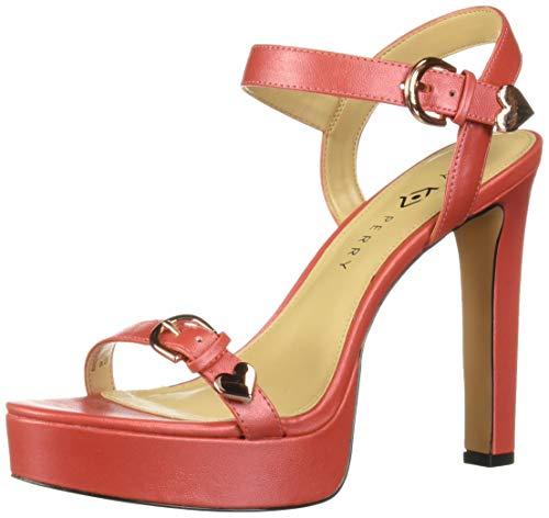 Katy Perry Women's The Noelle-Metallic Shine Heeled Sandal, scarlet, 9 M Medium US