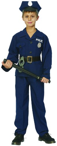 KULTFAKTOR GmbH Kleiner Polizist Kinderkostüm Officer blau-schwarz-Silber 110/122 (4-6 Jahre)