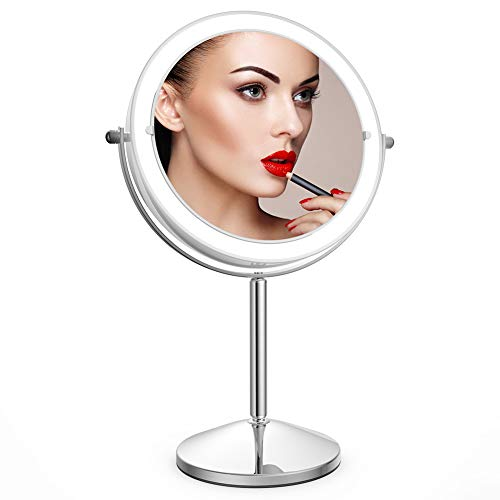Price comparison product image Makeup Mirror with Light, 10X Magnification Makeup Mirror, Vanity Mirror, Double Sided Dimmable Tabletop Cosmetic Mirror with Touch Control 360°Rotation Battery Powered for Men Women Home Use by JLANG
