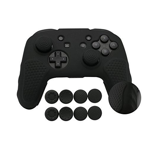 CHIN FAI per Nintendo Switch PRO Controller Case, Custodia Protettiva in Silicone Antiscivolo con 8pcs Thumbsticks Grip (Nero)