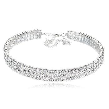 3-row Clear Austrian Rhinestone Crystal Choker Necklace Collar Dance Party Wedding Prom N175s Silver