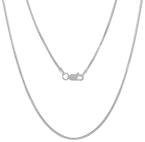 1.2mm High-Polished .925 Sterling Silver Square Box Choker Chain Necklace, 18 inches + Jewelry Cloth & Pouch