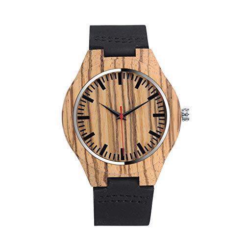 Unendlich U-Moda Casual Reloj de Madera de Bambú para Mujer y Hombre Reloj de Cuarzo con la Correa de Cuero Genuino Idea Regalo Navidad