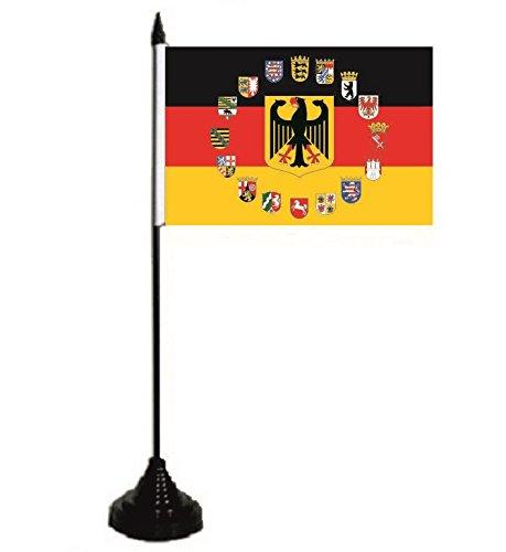 U24 Tischflagge Deutschland Adler mit 16 Bundesländer Wappen Fahne Flagge Tischfahne 10 x 15 cm