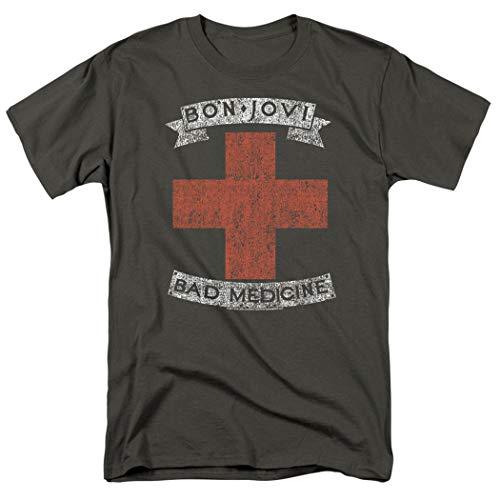 Bon Jovi Bad Medicine New Jersey Album Band T Shirt & Stickers (X-Large) Charcoal