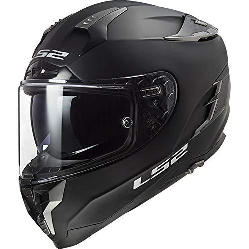 LS2 FF327 Challenger Fiberglas Fullface Helm Motorrad Helm mit Doppelvisier Roller Motorradhelm Damen und Herren Integralhelm Mattschwarz 3XL (65-66cm)